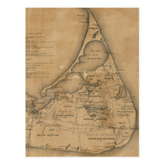 Mapa del vintage de Nantucket (1869) Postal