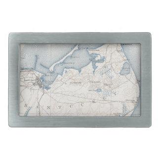 Mapa del vintage de Nantucket 1919 Hebilla De Cinturon Rectangular