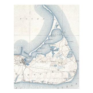 Mapa del vintage de Nantucket (1919) Membrete A Diseño