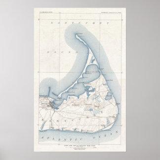 Mapa del vintage de Nantucket (1919) Póster