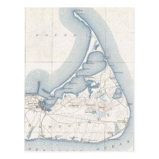 Mapa del vintage de Nantucket (1919) Postales