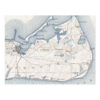 Mapa del vintage de Nantucket (1919) Tarjeta Postal