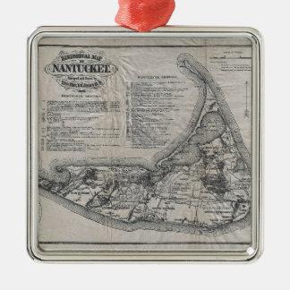 Mapa del vintage de Nantucket Adorno Navideño Cuadrado De Metal