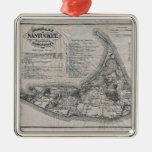Mapa del vintage de Nantucket Adorno Cuadrado Plateado