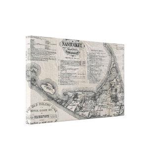 Mapa del vintage de Nantucket Impresión De Lienzo