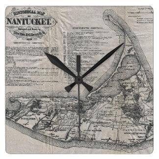 Mapa del vintage de Nantucket Reloj Cuadrado