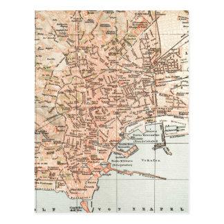 Mapa del vintage de Nápoles Italia (1897) Postal