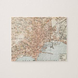 Mapa del vintage de Nápoles Italia (1897) Puzzle