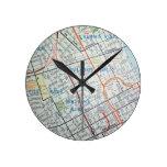 Mapa del vintage de NASHVILLE Reloj Redondo Mediano