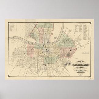 Mapa del vintage de Nashville Tennessee (1877) Póster
