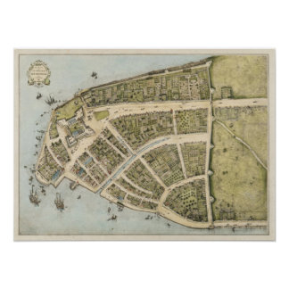 Mapa del vintage de New Amsterdam (1660) Póster