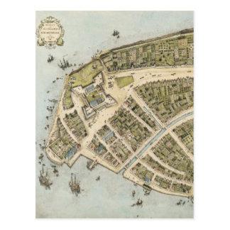 Mapa del vintage de New Amsterdam (1660) Tarjeta Postal