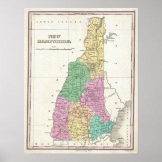 Mapa del vintage de New Hampshire (1827) Póster