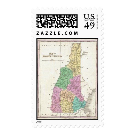 Mapa del vintage de New Hampshire (1827) Timbre Postal