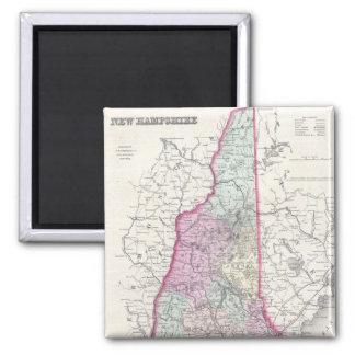 Mapa del vintage de New Hampshire (1855) Imán Cuadrado