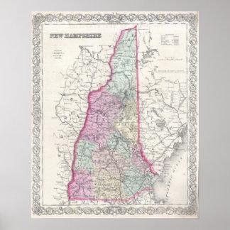 Mapa del vintage de New Hampshire (1855) Póster