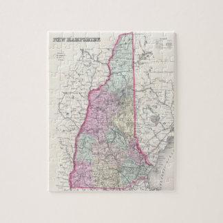 Mapa del vintage de New Hampshire (1855) Rompecabezas Con Fotos