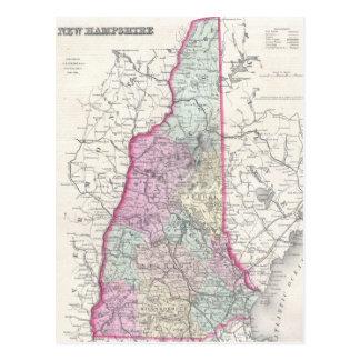 Mapa del vintage de New Hampshire (1855) Tarjeta Postal