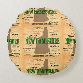 Mapa del vintage de New Hampshire Cojín Redondo
