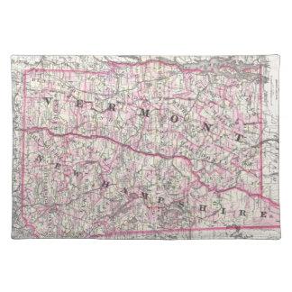 Mapa del vintage de New Hampshire y de Vermont (18 Manteles