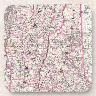 Mapa del vintage de New Hampshire y de Vermont (18 Posavasos De Bebida
