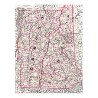 Mapa del vintage de New Hampshire y de Vermont (18 Postales