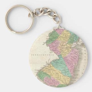 Mapa del vintage de New Jersey (1827) Llaveros