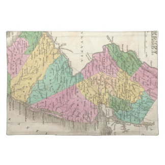 Mapa del vintage de New Jersey (1827) Mantel Individual