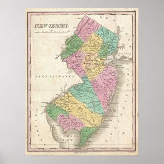 Mapa del vintage de New Jersey (1827) Impresiones