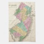 Mapa del vintage de New Jersey (1827) Toallas De Cocina