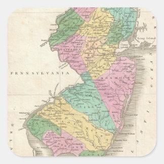 Mapa del vintage de New Jersey (1827) Pegatina Cuadradas