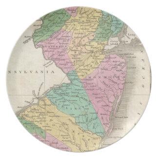Mapa del vintage de New Jersey (1827) Platos Para Fiestas
