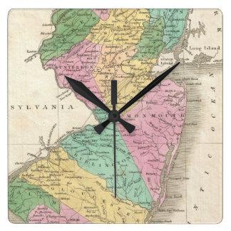 Mapa del vintage de New Jersey (1827) Reloj