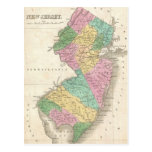 Mapa del vintage de New Jersey (1827) Tarjeta Postal