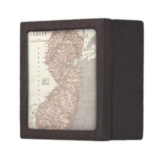 Mapa del vintage de New Jersey (1845) Cajas De Regalo De Calidad