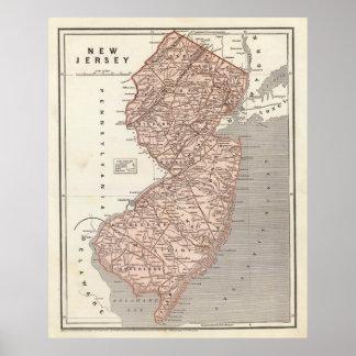 Mapa del vintage de New Jersey 1845 Poster
