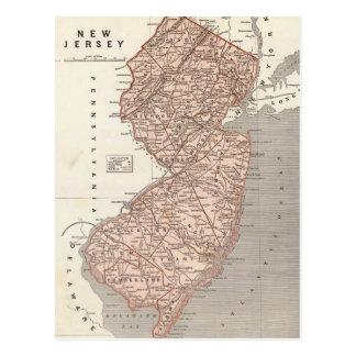Mapa del vintage de New Jersey (1845) Tarjeta Postal