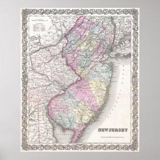 Mapa del vintage de New Jersey (1855) Póster