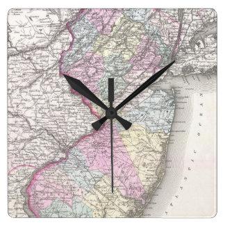 Mapa del vintage de New Jersey (1855) Relojes De Pared