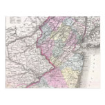 Mapa del vintage de New Jersey (1855) Tarjetas Postales