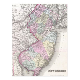 Mapa del vintage de New Jersey (1855) Postal
