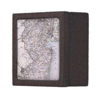 Mapa del vintage de New Jersey (1884) Caja De Recuerdo De Calidad