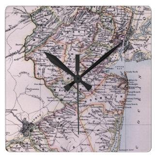 Mapa del vintage de New Jersey (1884) Relojes