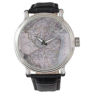 Mapa del vintage de New Jersey (1884) Reloj De Mano