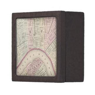 Mapa del vintage de New Orleans (1880) Cajas De Recuerdo De Calidad