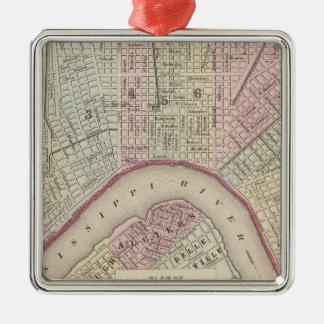 Mapa del vintage de New Orleans (1880) Adorno Cuadrado Plateado