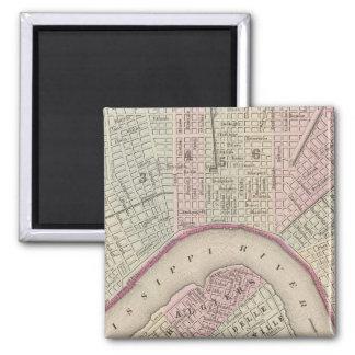 Mapa del vintage de New Orleans (1880) Imán Cuadrado