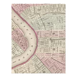 Mapa del vintage de New Orleans (1880) Plantillas De Membrete