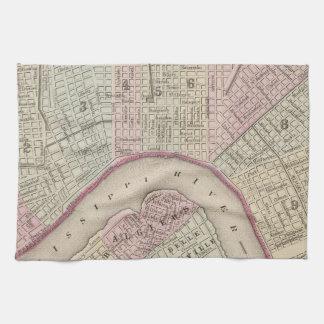 Mapa del vintage de New Orleans (1880) Toallas De Mano