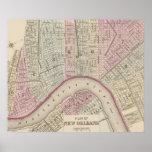 Mapa del vintage de New Orleans (1880) Poster